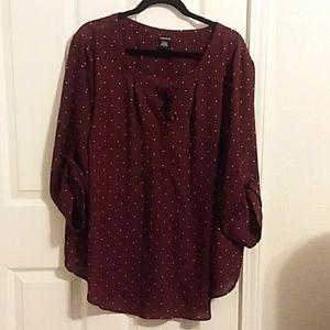 Torrid burgundy and mustard blouse